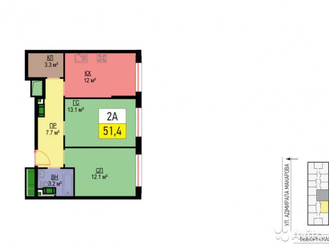 2-к квартира, 51 м², 10/21 эт.