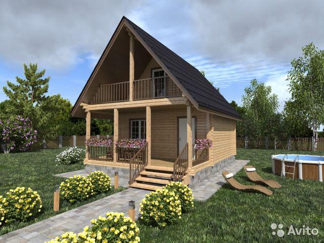 Двухуровневый дом из оцилиндрованного бревна