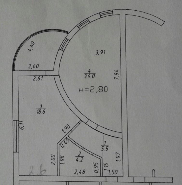 1-комнатная квартира (52.3 м²)