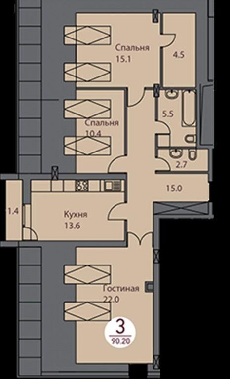 3-комнатная квартира (90 м²)