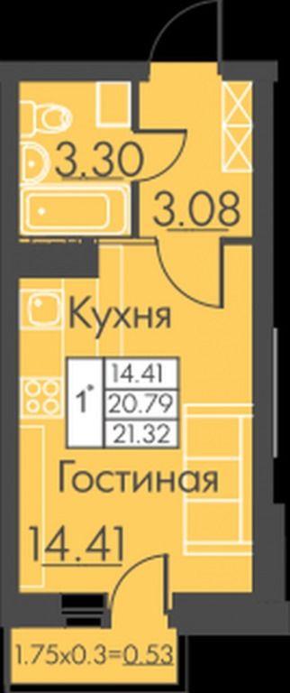 1-комнатная квартира (21 м²)