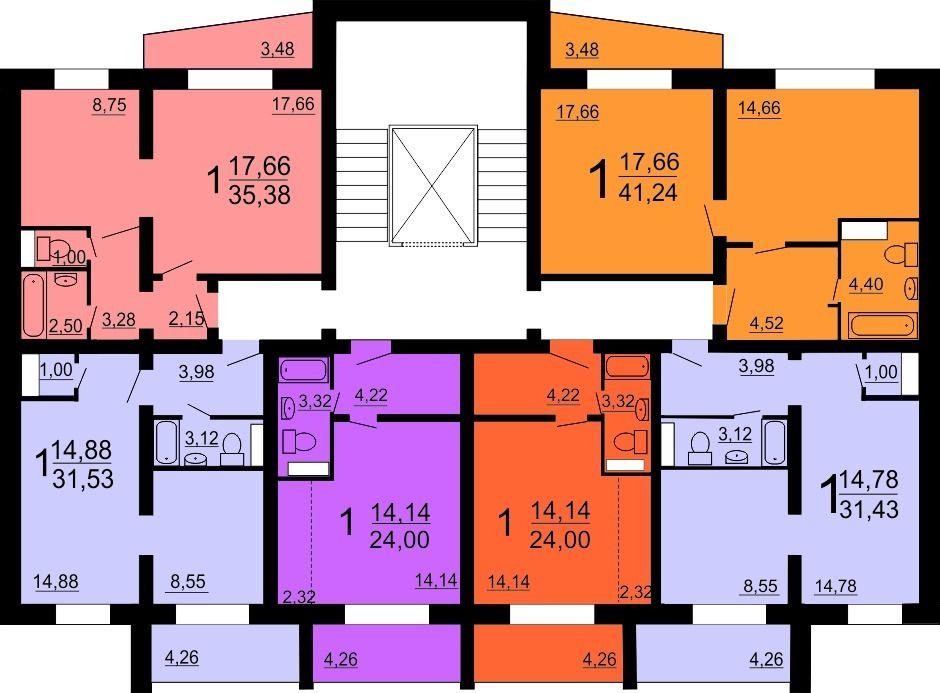 1-комнатная квартира (26.3 м²)