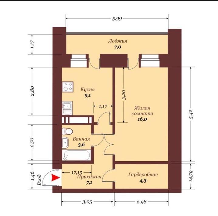 1-комнатная квартира (47 м²)