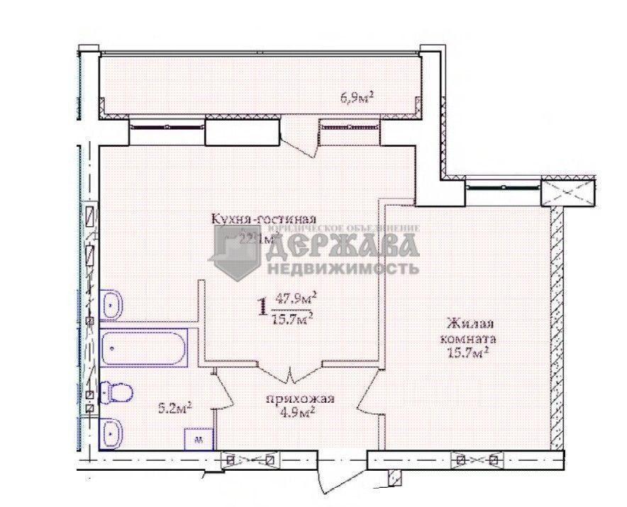 1-комнатная квартира (52 м²)