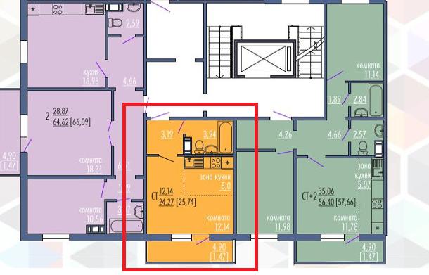 1-комнатная квартира (25 м²)