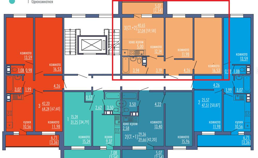 2-комнатная квартира (59.58 м²)