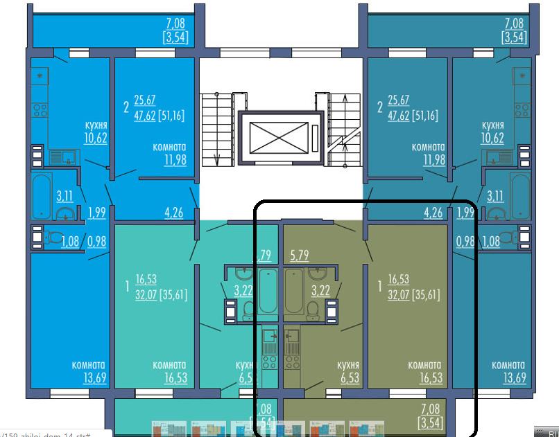 1-комнатная квартира (35.6 м²)