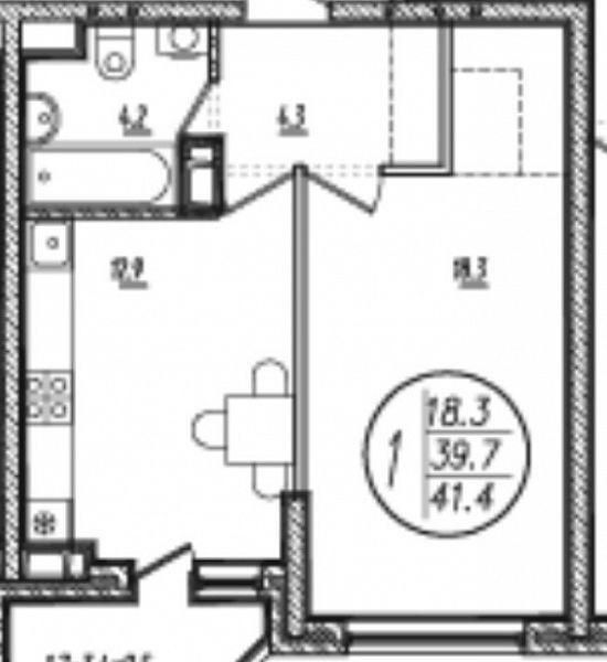 1-комнатная квартира (41.6 м²)