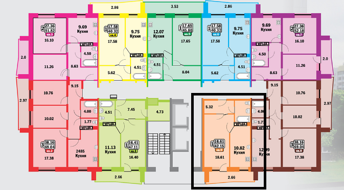 1-комнатная квартира (42 м²)