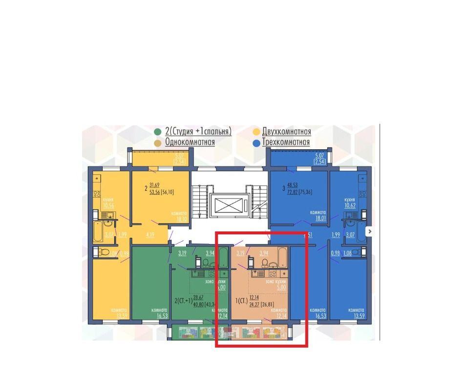 1-комнатная квартира (26 м²)
