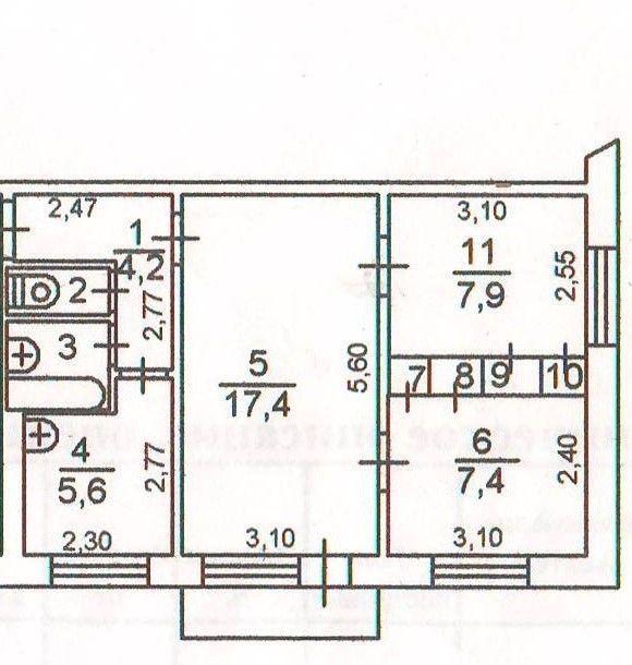3-комнатная квартира (47 м²)