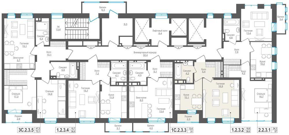 1-комнатная квартира (38.6 м²)