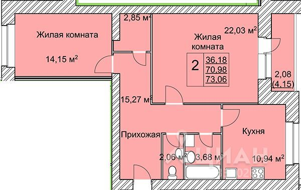 2-к кв. Ярославская область, Ярославль ул. Вишняки (73.06 м²)