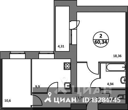 2-к кв. Ярославская область, Ярославль ул. 1-я Приволжская, 3А (60.34 м²)