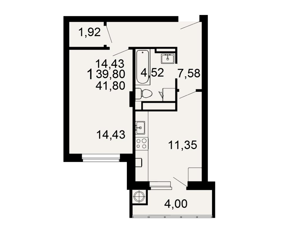 1-комнатная квартира (41.8 м²)