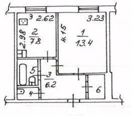1-комнатная квартира (35.5 м²)