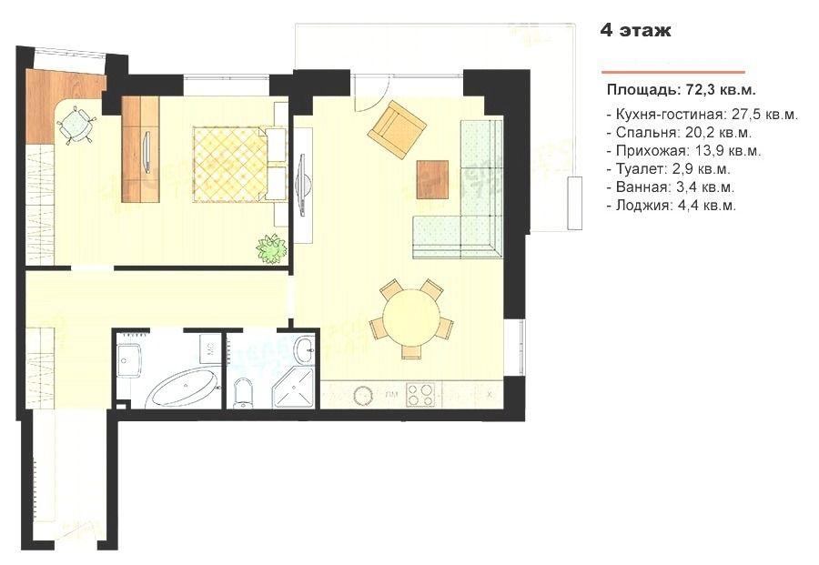 2-комнатная квартира (72 м²)