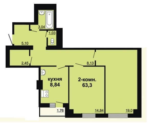 Квартира, 2 комнаты, 62.1 м²