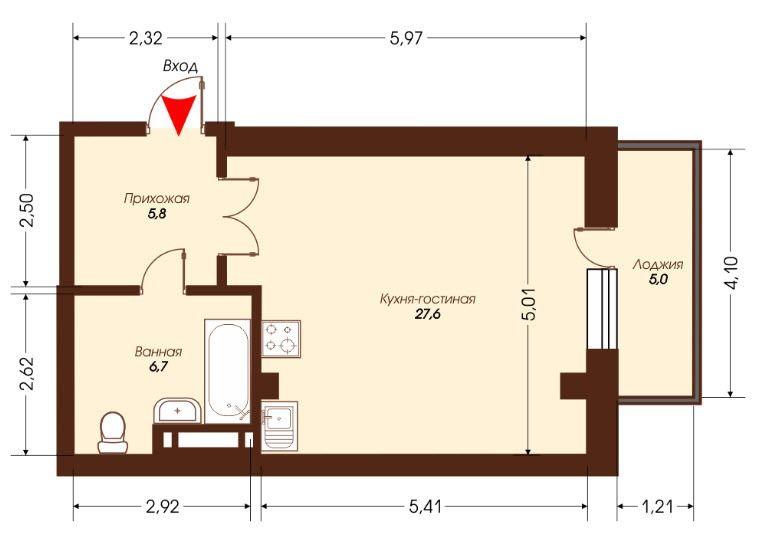 1-комнатная квартира (45.1 м²)